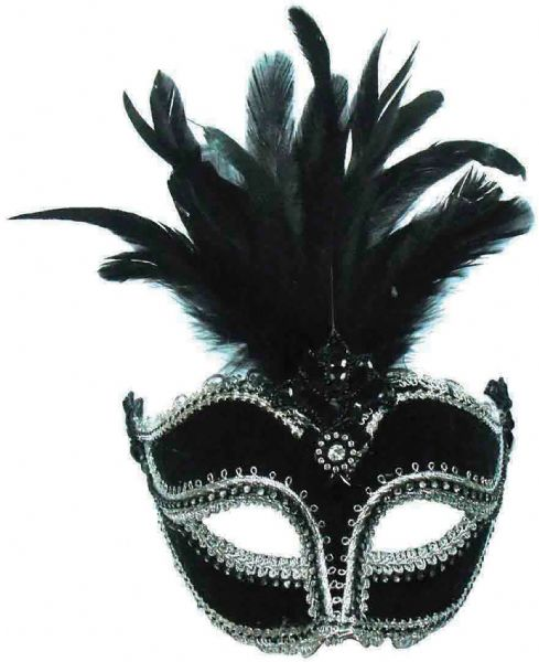 Black Velvet + Tall Feather Eyemask Masquerade Ball Eye-Mask Eye Mask